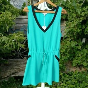 Turquoise & Black Naked Zebra Romper Dress NWT
